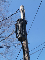 Aerial cable & transformer (en tee gee) Tags: old transformer massachusetts cables 4kv