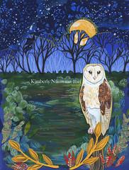 The Night Owl (Kimberly Naumann) Tags: portrait moon bird art collage stars landscape artwork folkart outsiderart mixedmedia owl nightsky folkartist birdart canadianartist starrysky canadianfolkart owlart