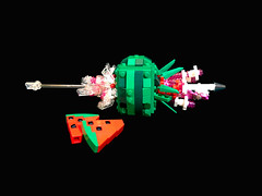 Fruit Sniper (Siercon and Coral) Tags: fruit shoot shot lego watermelon sniper target bullet explode moc