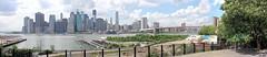 Manhattan Skyline Panoramic (AzimNail) Tags: life new york city nyc brooklyn buildings cloudy manhattan panoramic promenade partly