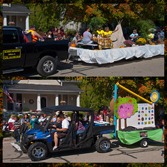 local small biz floats... (IndyEnigma) Tags: people milan fall festival diptych indiana parade versailles spectators float versaillespumpkinshow delawarecampground odysseyfullservicesalon