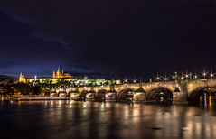 Charles bridge at night (Vagelis Pikoulas) Tags: blue autumn houses light sky house colour reflection night clouds canon landscape eos kiss europe view prague praha clear most 1855mm x4 karluv 2013 550d abigfave colorphotoaward slicesoftime mygearandme