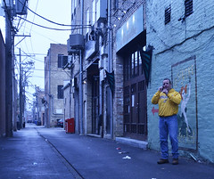 Yellow Jacket (tacosnachosburritos) Tags: park street city urban chicago lines yellow mobile photography cafe alley mural phone cell windy dude jacket wires absinthe wicker verte bucktown fee