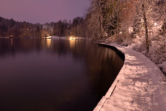 Winter in Bled (zkbld) Tags: winter lake snow reflection water night nikon slovenia bled slovenija zima sneg d5100