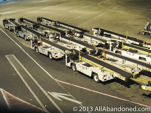 Baggage loader vehicles at rest