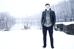 Self. (Ryan J Miller) Tags: winter portrait sky lake selfportrait snow cold water fashion self canon stream fashionphotography fulllength jacket snowfall canondslr canoneos selfie snowportrait canon7d