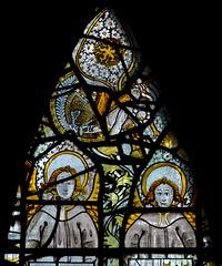 Atcham, Shropshire, St. Eata's church, east window, God & St. John, detail (groenling) Tags: uk greatbritain england window glass angel choir shropshire cross eagle britain nail stainedglass gb chancel stainedglasswindow atcham salop steataschurch