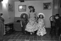 010870 05 (ndpa / s. lundeen, archivist) Tags: girls boy vanessa portrait blackandwhite bw film home monochrome hat boston kids sisters 35mm children ma blackwhite nicole twins dress brother massachusetts nick ivan group january hats dressup siblings dresses threesisters 1970 groupphoto 1970s beaconhill thalia dewolf mtvernonsquare nickdewolf photographbynickdewolf