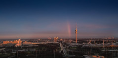 city of rainbow (turgeon76) Tags: blue cloud white tower munich mnchen bayern bavaria abend rainbow fuji wolken ring arena stadt olympia fujifilm nik 23 autos blau stadion turm arbeit fujinon horizont regenbogen mittlere 2014 weis georgbrauchlering strase xf2314
