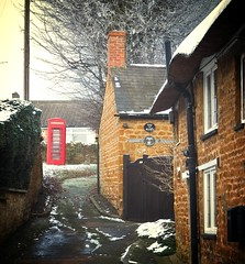 Telephone Kiosk (MickyFlick) Tags: winter snow history architecture village snowy northamptonshire frosty architectural historic alleyway historical northants telephonebox icey kettering telephonekiosk stonecottage thorpemalsor mickyflick