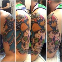 Brazo Rubn, todava no est terminado. (Hipos !) Tags: old school valencia tattoo ink skull arm traditional tattoos owl tinta tatuaje tatuajes tatouage tradicional hipos