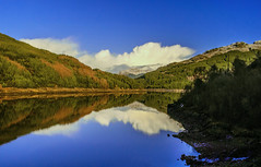 Loch Tarsan Reflections (Bathsheba 1) Tags: uk blue trees light sky sunlight mountains reflection green nature water leaves clouds forest