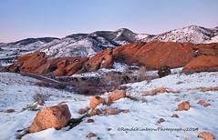 Red Rocks Amphitheatre - Morrison, Colorado (RondaKimbrow) Tags: winter snow nature beauty sunrise landscape photography colorado redrocks bluehour geology morrison coloradolandscape redrocksamphitheatre coloradophotography rondakimbrowphotography