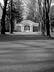 Down The Driveway And Through The Doors (Catskills Photography) Tags: blackandwhite building doors shadows canong15