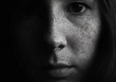 Self portrait (blankakovacs) Tags: portrait white black girl face self canon freckles 1855mm bnw poeple