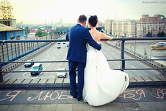 (Aleksey Zotov) Tags: road street wedding light woman man love happy couple russia moscow together hugs fiancee