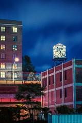 Glass Watertower Night Illumination (Raphe Evanoff) Tags: nyc sky film skyline brooklyn kodak watertower ektachrome