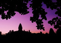 Bakong sunset silhouettes (SM Tham) Tags: asia cambodia angkor unescoworldheritagesite roluosgroup bakong khmer stone temple templemountain pyramid towers statues pedestals sunset sky silhouettes tree leaves outdoors