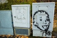 Strange Neighbours (magnusbjorns) Tags: graffiti graffitiphotography streetart streetartphotography electrcalbox akureyri iceland autumn autumncolors einstein