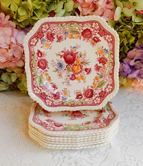 Johnson Brothers Porcelain Square Salad Plates ~ Winchester ~ Floral (Donna's Collectables) Tags: johnson brothers porcelain square salad plates ~ winchester floral thanksgiving christmas