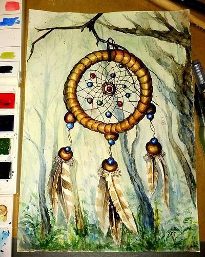 Dreamcatcher. I really wanted something magical)▪Ловец снов. Очень хотелось чего-то волшебного) #watercolor #деревья #watercolour #бусинка #artsofinstagram #рисунок #trees #перья #рисование #inspiration #акварель#синий #оранжевый #ловецснов #blue#green#ak