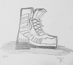 Day 10: Shoe (KristinVictoria) Tags: art artist artistic based arizona az from washington wa black graphite sketch sketching drawing draw 31 day challenge create colours creating colors c colour color curves curve shoe shoes boot hiking hike stylized style illustration 10 kvart31 kvart laces form forms gray grays grey greys irregular inprogress progress light lines line markmaking mark making marks makersgonnamake makers gonna make makersmovement movement alwayscreating alwaysdrawing alwayssketching always