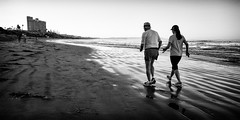 Jog (GavinZ) Tags: california sandiego surfing tourmaline usa beach pacificbeach unitedstates us blackandwhite bw monochrome jog run couple morning walk