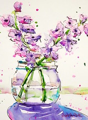 """""""reach out"""" - watercolour (Nora MacPhail) Tags: watercolour watercolor nora macphail mixed media pen ink inktober inktober2016 painter daily dailypainter paintworks dailypaintworks etsy instagram lavender fragrant flowers aroma fresh cut"""