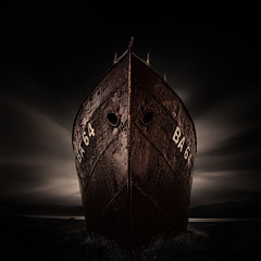 Grounded (ullibee) Tags: patreksfjrur garar iceland vestfirir westfjords longtimeexposure fineart monochrome wreck ship trawler 500x500