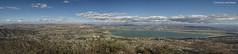 Lake Elsinore panorama (Joe Hengel) Tags: lakeelsinore lake drought socal southerncalifornia afternoon riversidecounty clouds cloudsbluesky bluesky blue panorama mountains mountain horizon