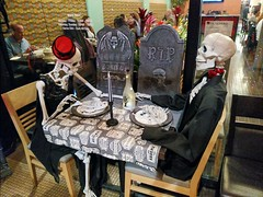 The Ultimate Still Life - Explored (Thad Zajdowicz) Tags: 366 365 halloween skeletons humor dinner macabre pasadena california zajdowicz photoshopexpress availablelight cellphone outdoor outside restaurant dining motorola droid turbo smartphone cameraphone android mobile meal