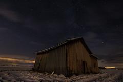 Barn (ArtDvU) Tags: slightly cloudy night sky stars starry nightscape finland winter landscape field canon eos 7d mark ii wideangle