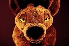 020-Eyes of Betrayal #2 (Univaded Fox) Tags: shenzi hyena the lion king plush disney store photography experiment dramatic lighting filters photoshop univaded