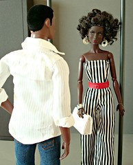 """Another idea for the """"Vertical Lines Challenge"""" (Deejay Bafaroy) Tags: fashion royalty fr integrity toys black doll dolls puppe puppen barbie quiet storm annik nuface darius reid playing it cool homme male stripes streifen striped gestreift white weiss blue blau red rot schwarz verticallines"""