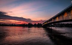 Sava river @ dusk (HDR) (I.C. Photo) Tags: sava river belgrade beograd serbia srbija gloaming dusk aftersunset red expressivesky sky water bridge hdr