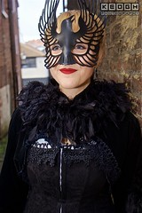 IMG_6519 (Neil Keogh Photography) Tags: 2016 black blouse cloak corset feather goth gothic mask november november2016 red whitbygothweekend white woman