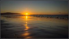 Ribbon of Light (Donald Noble) Tags: hdr ireland sligo strandhill beach coast coastline colour hill hills landscape light mist orange reflection sand sea sun sunset water wave waves weather wet