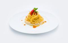 Spaghetti con Polpa di Riccio su Crema di Mandorle (lacookagency) Tags: photoshoot still life chef food dish white restaurant styling squid sicily background lacookagency gourmetidentity foodstyle
