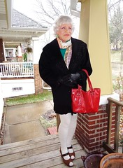 Is This Any Way For A Soon-To-Be 70-Year Old Woman To Dress? (Laurette Victoria) Tags: tights coat winter snow silver scarf woman laurette wisconsin milwaukee gloves purse ty your legs very shapely