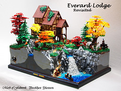 Everard Lodge Revisited (Mark of Falworth) Tags: autumn trees cliff mountain lake building tree castle colors forest river waterfall lego lodge deer creation hunter hunt moc