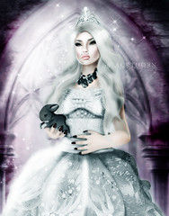 The White Queen (SugarKandii) Tags: life brown white snow black rabbit bunny castle animal glitter hair studio wonder photography photo shiny long princess alice sugar queen sparkle story fantasy secondlife land second backdrop crown wonderland blackthorn resident gothly kandii sugarkandii