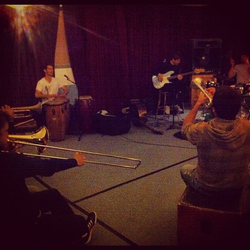 Rehearsing new album material today with...