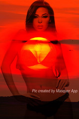 face-off (MasquerApp) Tags: sunset portrait sun nature girl lady composition photoshop photography graphic mount layers blend photodesign masquer funnyapp