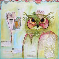 WhoAreYou72dpi (Ferntree Studio) Tags: pink blue green bird art birdcage illustration watercolor painting wings colorful heart fierce lace mixedmedia feminine owl whimsical acrylicpaint penandink aliceinwonderland ferntreestudio angelatraunig