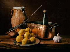 Still Life with Lemons and copper pans (kevsyd) Tags: stilllife lemons copperpots luismelendez kevinbest spanishstilllife pentax645d