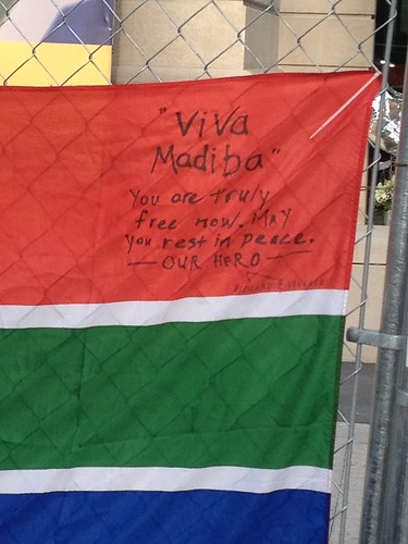 Tribute to Mandela on South African flag, Washington DC