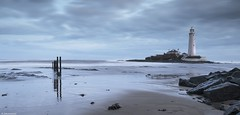 St Marys lighthouse. (rickyschonewald) Tags: uk sky seascape seaweed reflection clouds sunrise rocks northumberland northsea posts northeast whitleybay gradfilter nikond3100 rickyschonewald