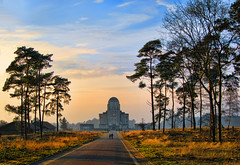 The Cathedral of long distance communication (Wim Koopman) Tags: trees light sky holland art nature netherlands dutch pine radio indonesia day cloudy heather low reserve atmosphere communication deco colony shortwave kootwijk luthman