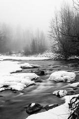 Icy River (SharmaPunit) Tags: longexposure travel winter blackandwhite snow ice water contrast river flow washington nikon stream day slowshutter icy leavenworth icyriver d7100