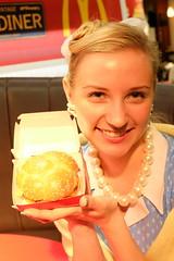 Sandy American Vintage '50s Life 04 (HAMACHI!) Tags: party portrait food woman girl japan lady tokyo sandy diner mcdonalds event american hamburger fujifilm 50s campaign 2014 xm1 xc1650mmf3556ois mcdonaldsamericanvintage50s